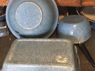 Blue Speckled Cake Pan  Bowl  Sauce Pan
