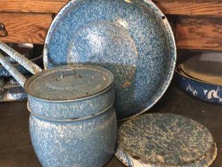 Blue   White Wash Pan  Pie Pan