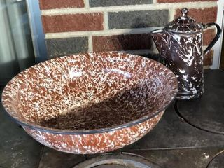Brown Swirl large Bowl and Coffee Pot