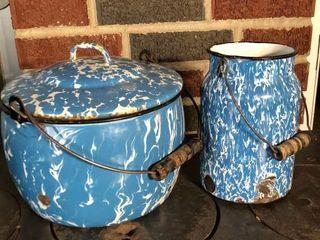 Blue Swirl 9  Pot and Cream Jar