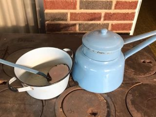 Blue Enamel Double Boiler  Pan  ladle
