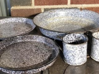 Grey Swirl Enamel Dish  Plate  Bowl  and Cups