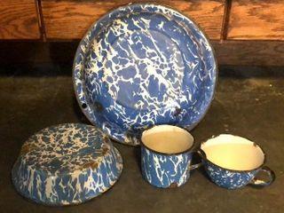 Blue   White Enamelware Set