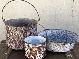 Brown Swirl Graniteware Pots and Skillet