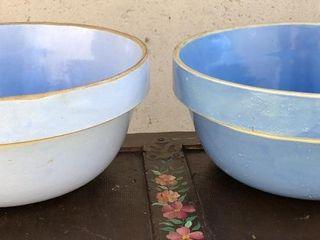 2 Blue Stoneware Bowls