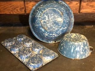Blue   White Swirl Enamelware