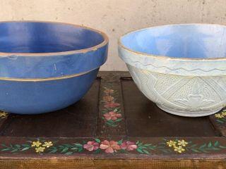 2  12  Blue Stoneware Bowls