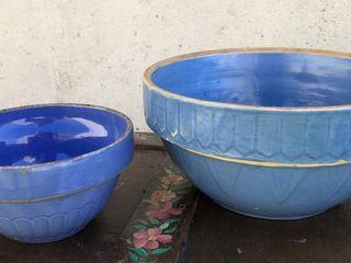 2  Blue Stone Bowls