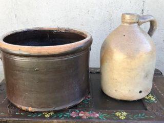 Brown Glazed Crock and 12  Jug