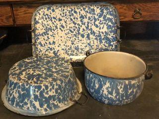 Blue   White Baking Pan  Mixing Bowl  and Pail