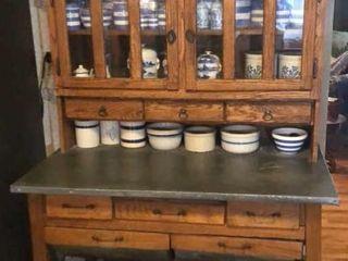 Antique Oak Kitchen Cupboard
