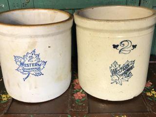 2   2 Western Stoneware Crocks