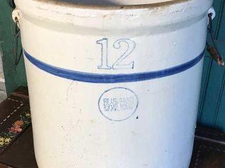 12 Blue Band Crock w Handles