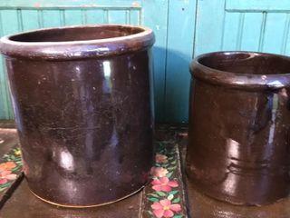 2  Brown Stoneware Crocks