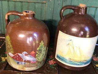 2  Brown Stoneware Jugs