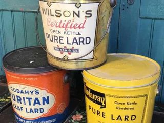 3  lard Tins  Excellent