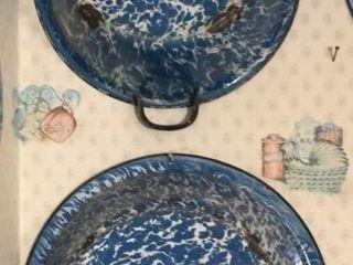 2  Blue   White Swirl Wash Tubs