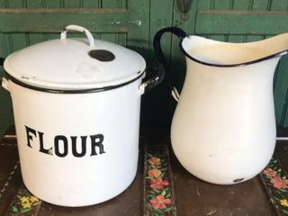 large Floyr Cannsiter and Water Pitcher
