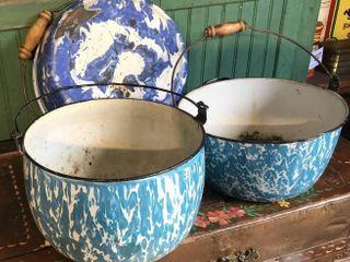 3  Blue Swirl Pots