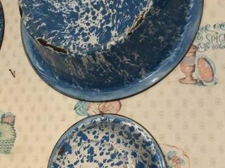 Blue Swirl Enamel Wash Tub   Bowl