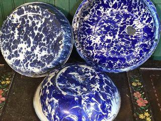 3  Blue   White Swirl Pans