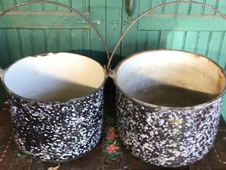2  Enameled Cast Pots