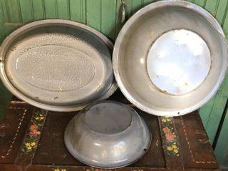 3  large Graniteware Pans