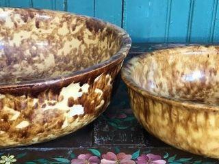 2  Brown Spongeware Bowls
