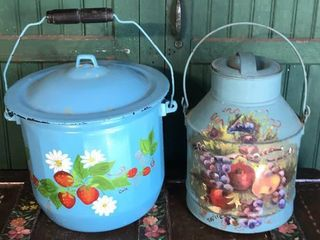 Painted Enamelware and Creamer