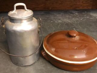 Small Cream Can and Hall Pottery Dish