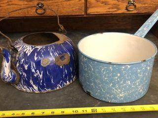 Enamel Swirl Pot and Kettle