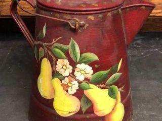 large Painted Enamel Pot  Pears