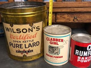 Clabber Girl  Wilson  and Rumford Tins