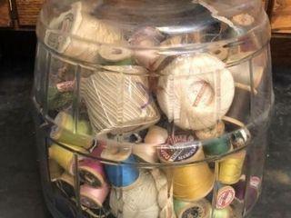 large Jar of Thread and Yarn