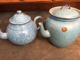 Blue Enamel Tea Pots