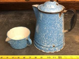 Blue Enamel Coffee Pot and Cup