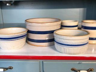 Blue Band Stoneware Jars  5 Pieces