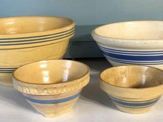 Variety of Blue Band Stoneware Bowls