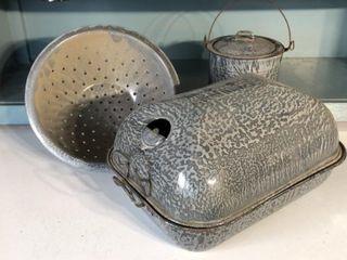 Graniteware Roaster  Colander  and Pail