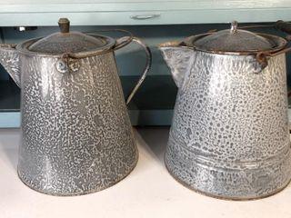 2  Graniteware Cowboy Coffee Pots