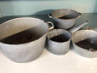 Graniteware Pots and Bowl