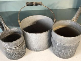 2  Graniteware Double Boilers and Bucket