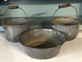 Graniteware Bowl and Buckets