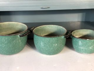 3  Green Speckled Enamelware Pots
