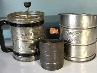 3  Antique Sifters  Watkins  Savory  Gem