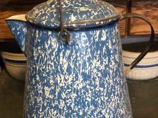 Blue   White Swirl Enamelware Coffee Pot