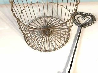 Small Wire Egg Basket w  Whisk