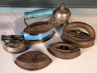 4  Sad Irons and  1  Gas Iron