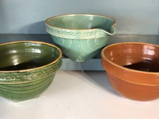 3  Stoneware Bowls