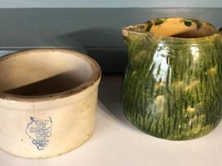 Stoneware Pitcher and Small Crock